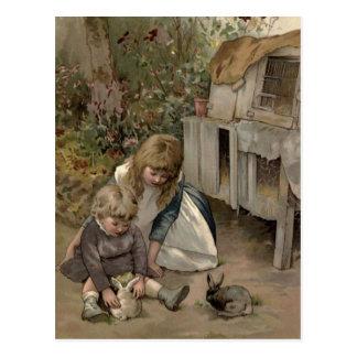VintageVictorian & gulligt: Barn & kaninkaniner Vykort