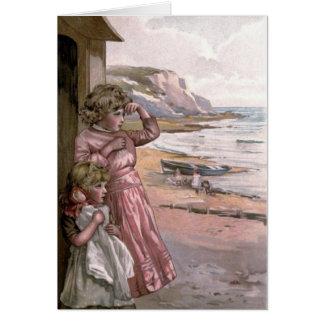 VintageVictorian & gulligt: Barn på stranden Hälsningskort