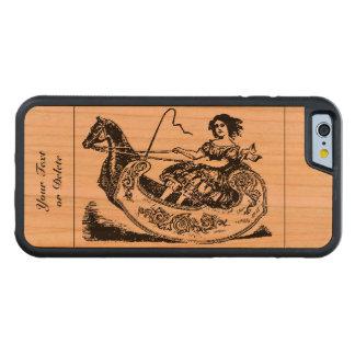 VintageVictorianEra som vaggar hästvagns&Girl iPhone 6 Bumper Fodral I Körsbärsträ