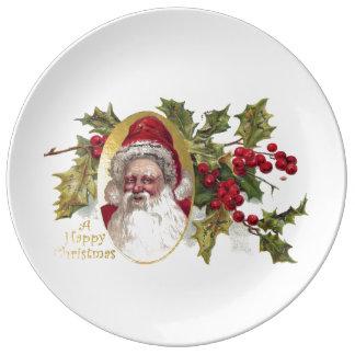 VintageVictorianjultomten, jul för C. 1906 Porslinstallrik