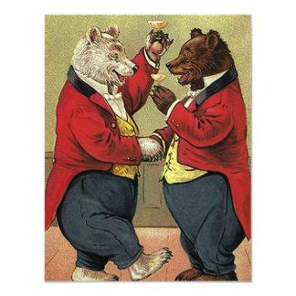 VintageVictorianlycklig, bög som dansar björnar 10,8 X 14 Cm Inbjudningskort