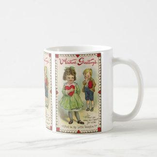 VintageVictorianvalentin dag, blyga barn Kaffemugg