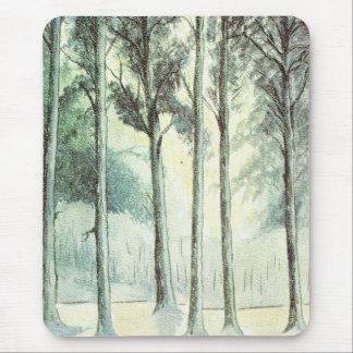 Vintagevinter, frostad skog musmatta