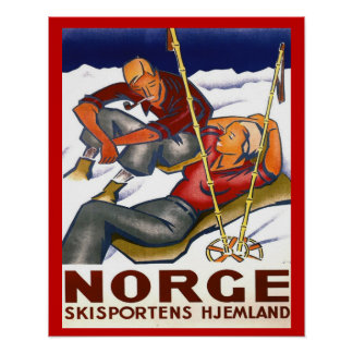 Vintagevintersportar, norgen, hemland skidar sport print