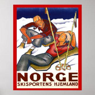 Vintagevintersportar, norgen, hemland skidar sport poster