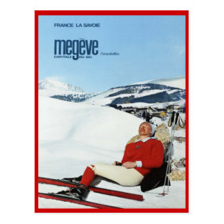Vintagevintersportar, skidar frankriken, Savoie, Vykort
