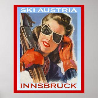 Vintagevintersportar skidar Österrike, Innsbruck Poster
