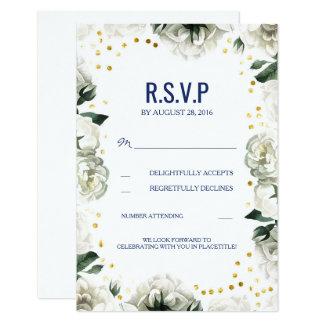 Vintagevit blommar bröllop OSAkort 8,9 X 12,7 Cm Inbjudningskort