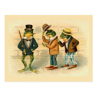 """Vintagevykort """"för tre sällskapliga grodor"""" vykort"""