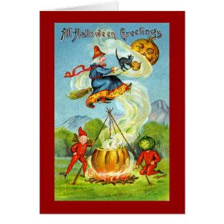 VintageWitchy Halloween hälsningar Hälsningskort