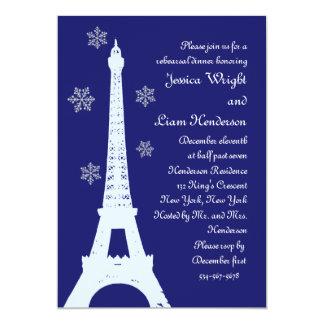 Vinter i indigoblått för Paris repetition 12,7 X 17,8 Cm Inbjudningskort