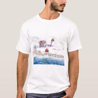 Vinter på Nubblefyren i Maine Tee Shirts