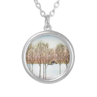 Vinter sjö silverpläterat halsband