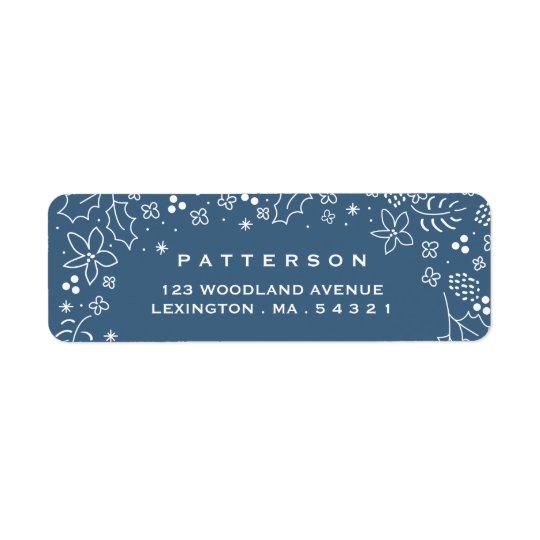 Vinterblåttsäsong etikett för jul för hälsningar returadress etikett