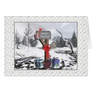 Vinterbrevlådasäsong hälsningar som postar bäraren hälsningskort