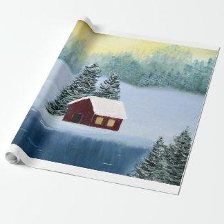 Vinterfred som slår in papper presentpapper