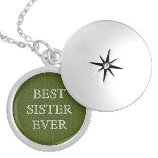 Vintergröna stjärnor och vit W1626 för bäst syster Halsband Med Rund Berlock