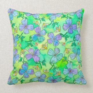 Vintergrönablåa blommorbin kudde