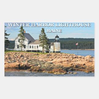 Vinterhamnfyr, Maine Rektangulärt Klistermärke