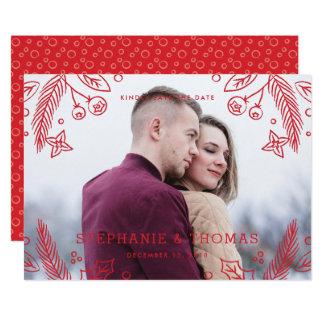 Vinterkrusidullspara daterakortet - bär 12,7 x 17,8 cm inbjudningskort