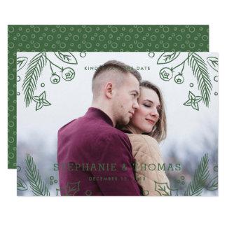 Vinterkrusidullspara daterakortet - evergreen 12,7 x 17,8 cm inbjudningskort