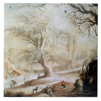 Vintern landskap kakelplatta