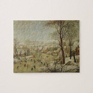 Vintern landskap med fågelfälla (olja på panel) pussel