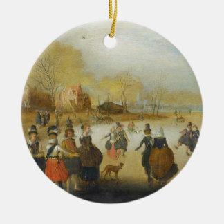 Vintern landskap med skater julgransprydnad keramik