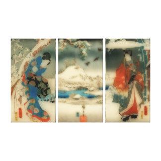 vinterplats - japansk konsttriptych för vintage canvastryck