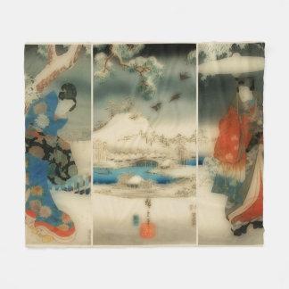 vinterplats - japansk konsttriptych för vintage fleecefilt