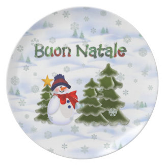 Vintersnögubben Buon Natale pläterar Tallrik