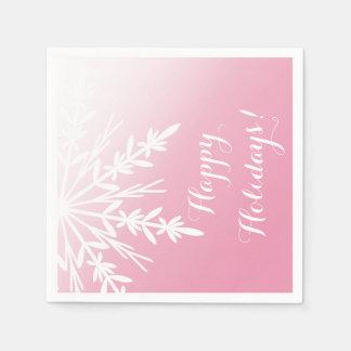 VinterSnowflake på rosa glad helg Servetter