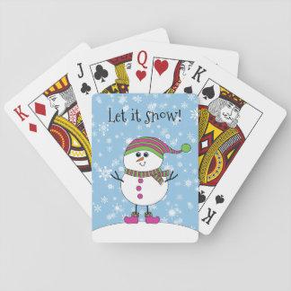Vinterstolligsnögubben låt det snöa spel kort