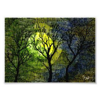 Vinterträd över vattenfärgen - grön gult fototryck
