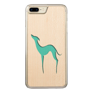 Vinthund-/Whippet turkossilhouette Carved iPhone 7 Plus Skal
