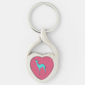 Vinthund-/Whippet turkossilhouette Keychain Twisted Heart Silverfärgad Nyckelring