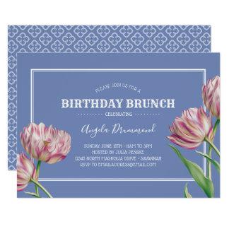 Violet för frunch för tulpanblommafödelsedag 12,7 x 17,8 cm inbjudningskort