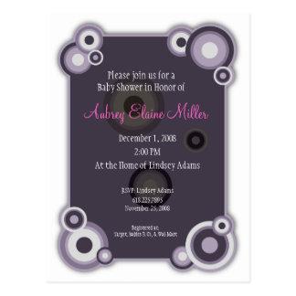 Violeten cirklar baby showerinbjudan vykort