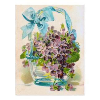 Violets i en Glass basket Vykort