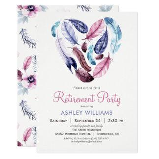 Violett fjäderpensionparty för rosor och 12,7 x 17,8 cm inbjudningskort