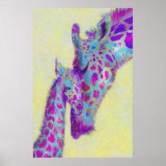 violett girafftryck poster