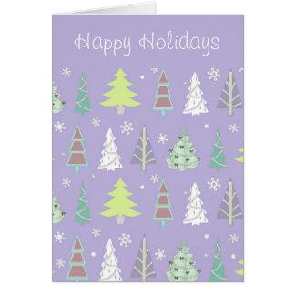 Violett julgranmönster och limefrukt ID175 Hälsningskort