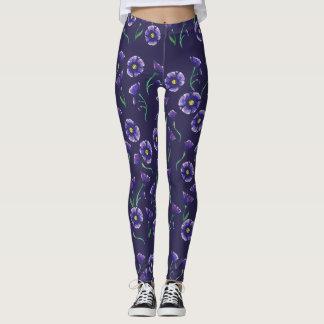 Violett lilablomma leggings