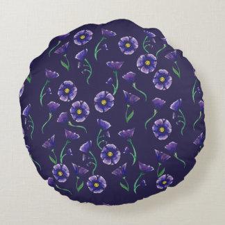 Violett lilablomma rund kudde
