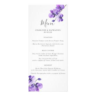 Violett meny för vattenfärgOrchidbröllop