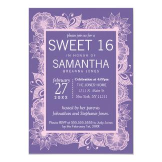 Violett och rodna rosa blom- sötsak 16 12,7 x 17,8 cm inbjudningskort