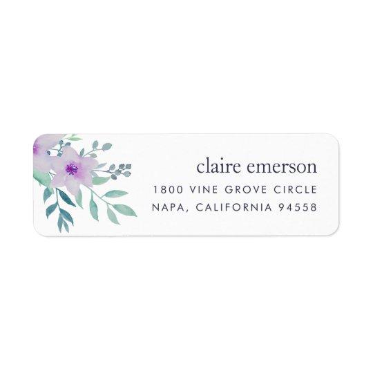 Violett och vis blom- returadress returadress etikett