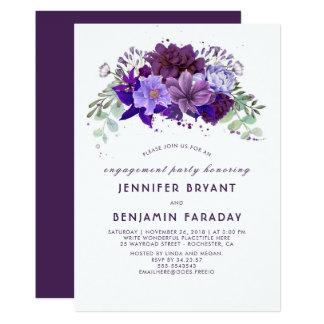 Violett purpurfärgad blom- elegant förlovningsfest 12,7 x 17,8 cm inbjudningskort