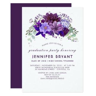 Violett purpurfärgad blom- elegant studentfest för 12,7 x 17,8 cm inbjudningskort