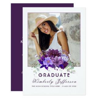 Violett purpurfärgad blom- fotostudenten för 12,7 x 17,8 cm inbjudningskort